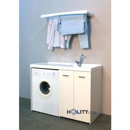 Lavatoio con coprilavatrice in plastica e nobilitato h15612 - Mobile coprilavatrice ...