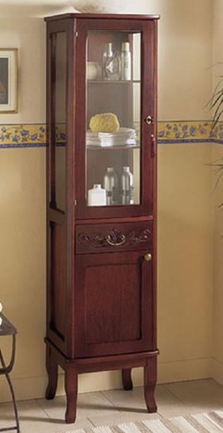 Colonna bagno classica in legno con anta in vetro h11304 - Mobili a colonna per bagno ...