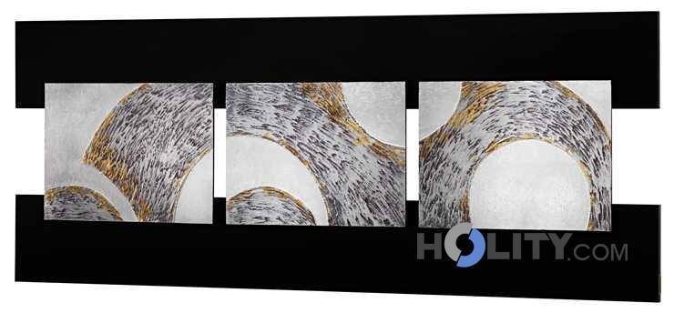 Pannello quadro in mdf decorato a mano con foglia argento for Quadri in argento