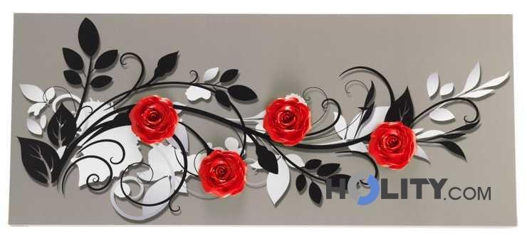 Quadro decorato a mano h11972 for Quadri con rose rosse