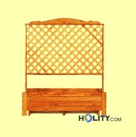Fioriera con grigliato in legno h24807 for Fioriera rettangolare con spalliera