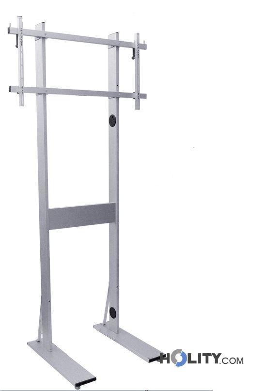 Maxi piantana porta tv in alluminio regolabile con ruote - Porta tv con ruote ...