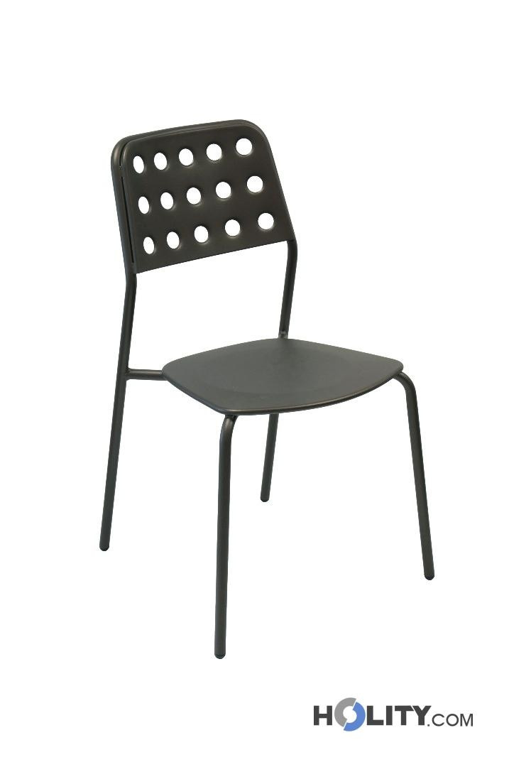 Sedia design da giardino impilabile in acciaio h19215 for Sedie in acciaio