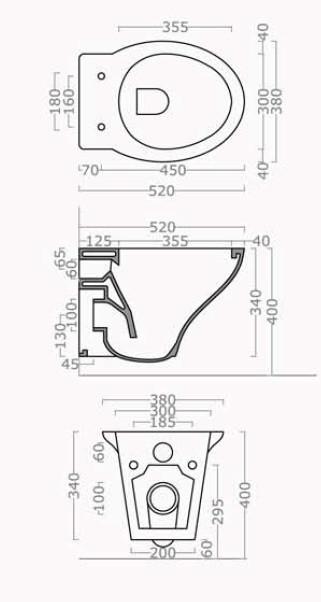 Sanitari bagno sospesi h11640 - Dimensioni standard bagno ...