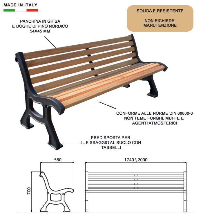 Cerchi panchina arredo urbano con doghe in pino h10901 for Arredo urbano panchine