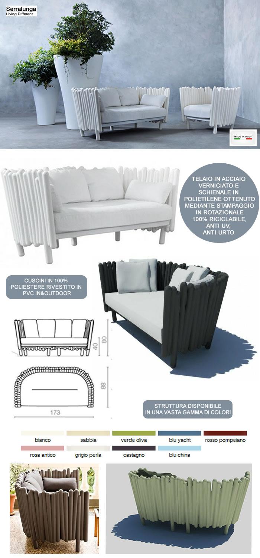 Cuscini Per Divani Ai Ferri divano di design in acciaio e polietilene h6404