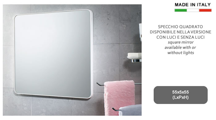 cerchi specchio quadrato con cornice in resine