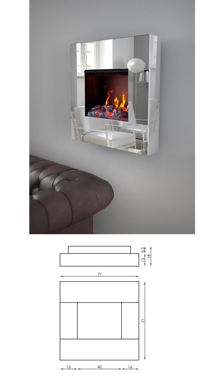 Caminetto maison fire elettrico a parete h9201 for Parete acqua