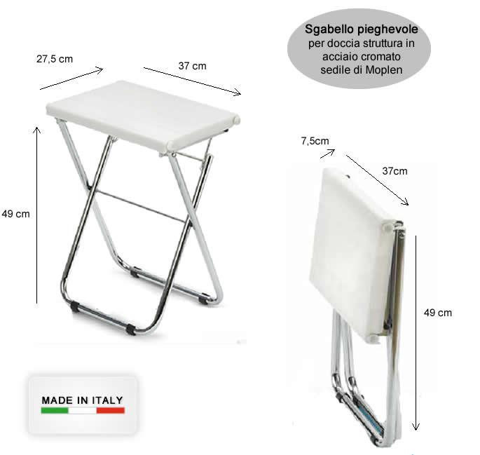 Sgabello pieghevole per doccia in acciaio e moplen h5632 for Sgabello bar pieghevole