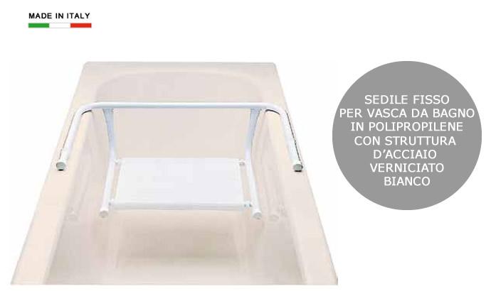 Sedile fisso per vasca da bagno in polipropilene e acciaio h5618
