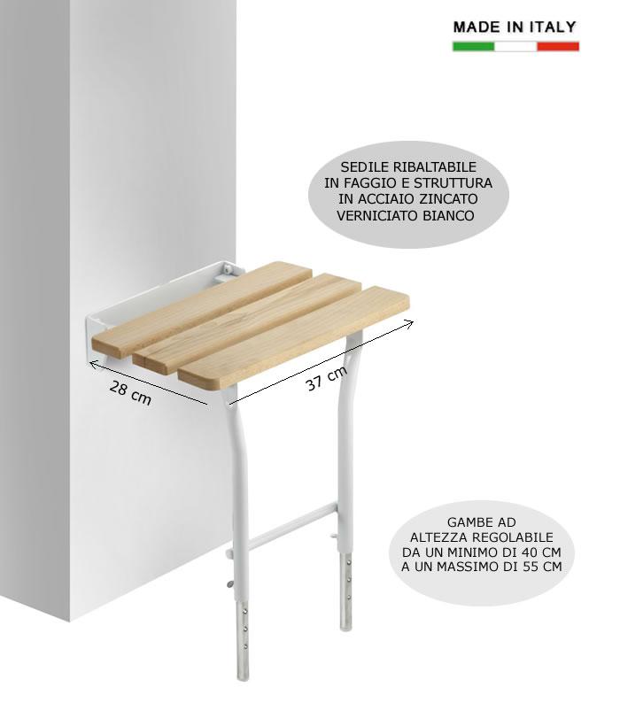 Cerchi Sedile ribaltabile da doccia con gambe in legno e acciaio h5631 ...