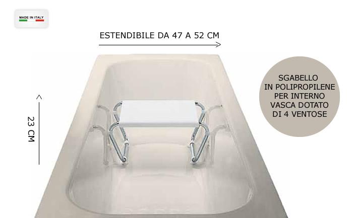 sgabello antiscivolo ideale per sentirsi sicuri e comodi nella vasca da bagno