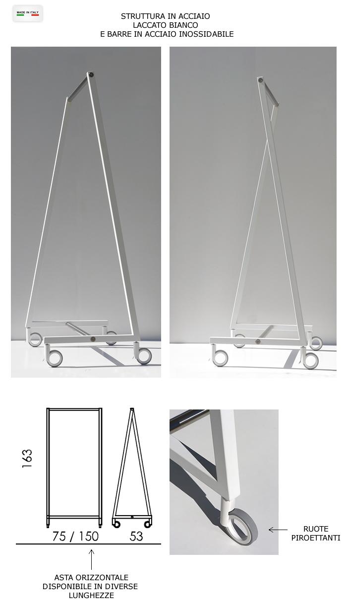 Stender portabiti in acciaio h9704 - Porta abiti design ...