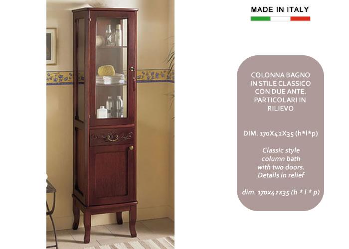 Colonna bagno classica in legno con anta in vetro h11304 - Colonna per bagno ...