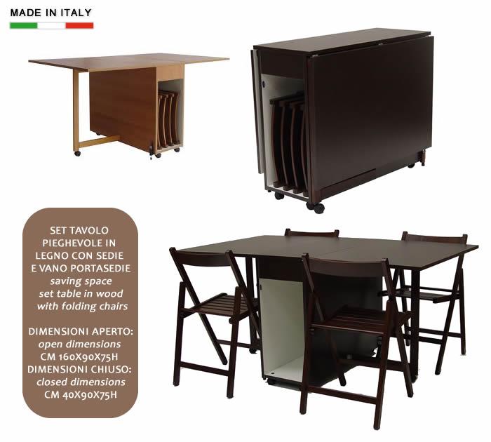 Set tavolo pieghevole in legno con sedie e vano portasedie for Sedie pieghevoli legno