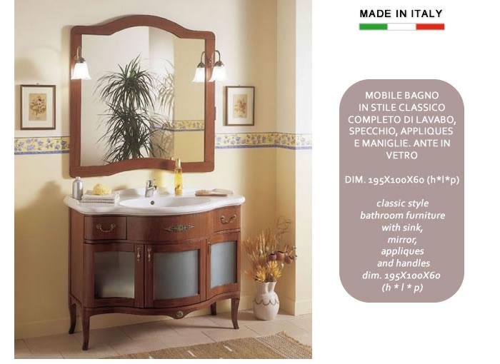 Mobile bagno classico in legno con ante in vetro h11302 - Applique per bagno classico ...