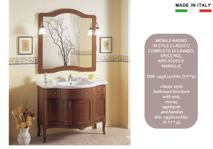 Mobile bagno classico in legno h11301 - Applique per il bagno ...