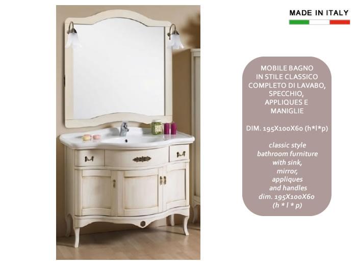 Mobile bagno classico in legno h11303 - Mobile bagno classico bianco ...