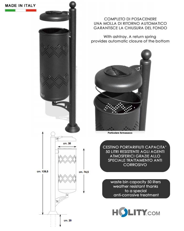 Cerchi cestino per rifiuti con posacenere in acciaio 50 lt for Cestini portarifiuti arredo urbano prezzi
