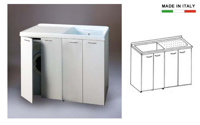 Lavatoio con vasca in metalcrilato per lavatrice con antine coprilavatrice h15622 - Mobile lavandino lavatrice ...