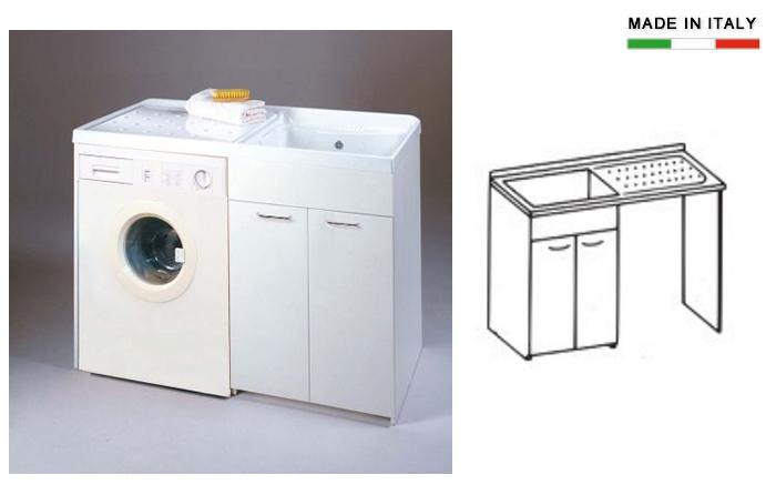 Cerchi lavatoio con vasca in metalcrilato per lavatrice - Mobile lavatrice e lavatoio ...