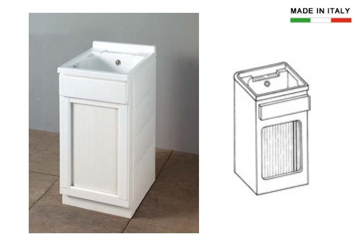 Lavatoio per esterni con vasca in resina con serrandina h15630 - Lavatrice per esterno ...