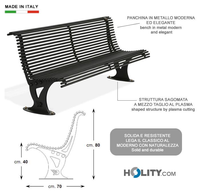 Cerchi panchina in metallo con schienale h14006 for Produzione arredo urbano