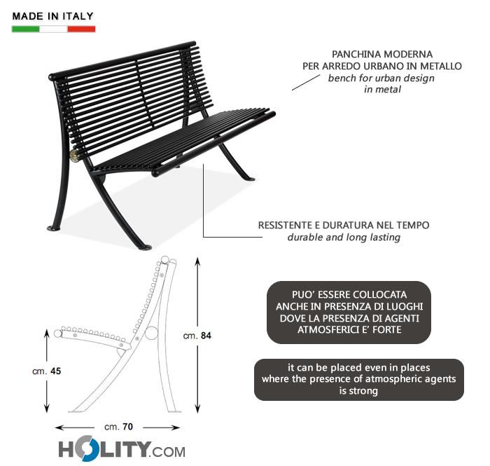 Panchina per arredo urbano in metallo h14022 for Produzione arredo urbano