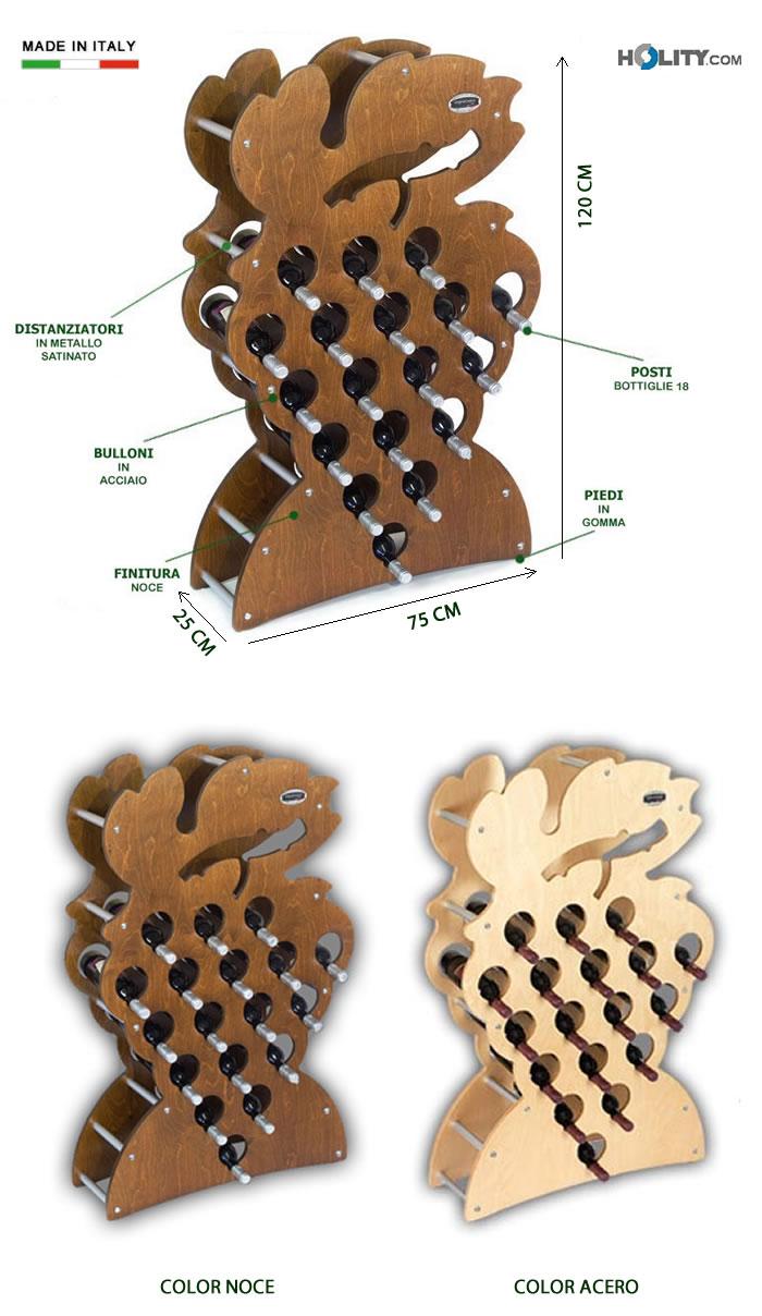 Cerchi portabottiglie di design in legno h12606 - Portabottiglie di vino in legno ...