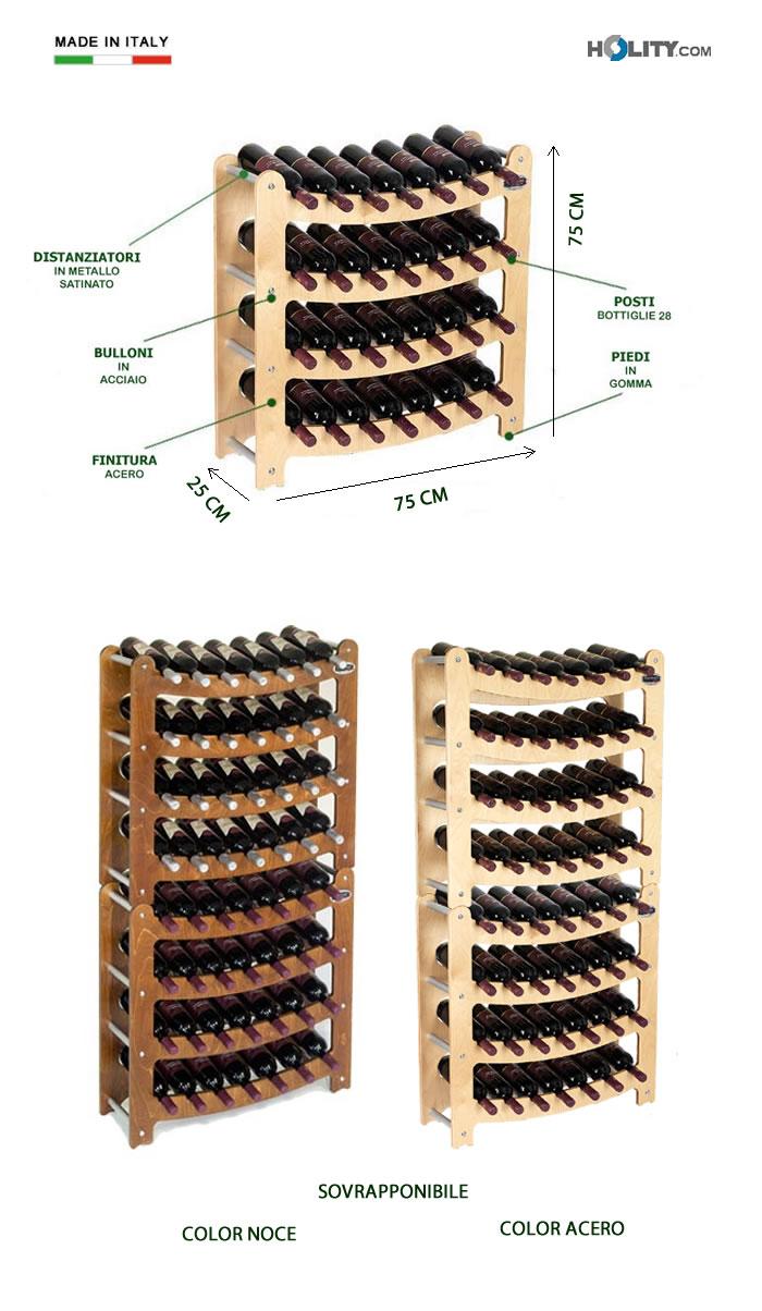 Cerchi portabottiglie sovrapponibile in legno h12611 - Portabottiglie di vino in legno ...