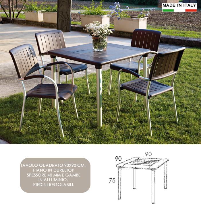 Tavoli Di Plastica Quadrati.Cerchi Tavolo Da Esterno Quadrato In Resina E Alluminio 90x90 H13325