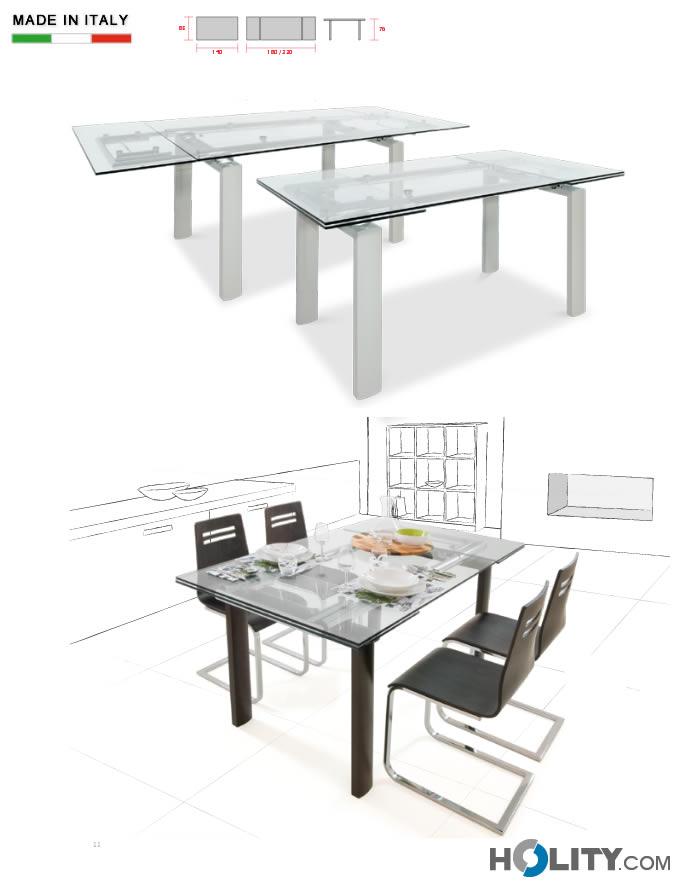 Tavolo rettangolare allungabile in metallo con piano in ...
