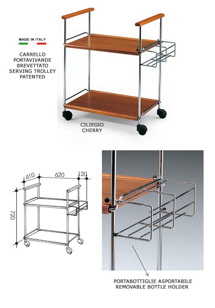 Carrello da cucina in legno e acciaio con portabottiglie h5635 - Carrello portavivande design ...