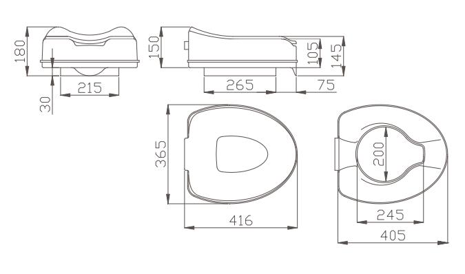 Alza water con coperchio per disabili e anziani h9103 - Dimensioni water piccolo ...
