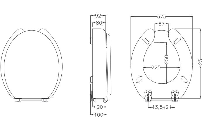 Ciambella rialzata per wc in abs antibatterico h9104