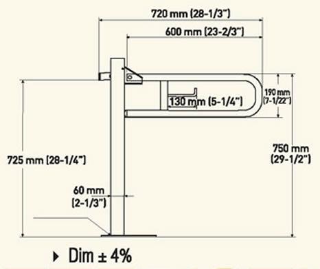 Maniglione di sostegno a parete pavimento in acciaio inox satinato h4023 - Maniglioni per disabili bagno ...