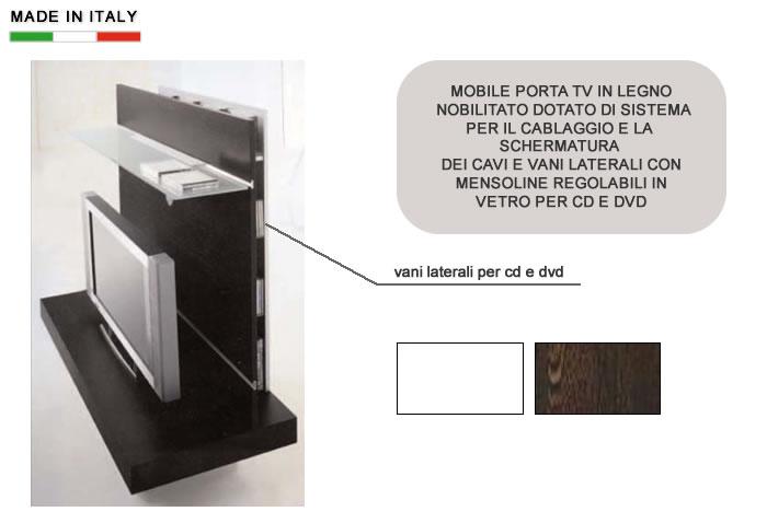 Cerchi mobile porta tv in legno e vetro con alloggiamenti per cd dvd h10214 ampia scelta su - Mobili porta tv in vetro ...