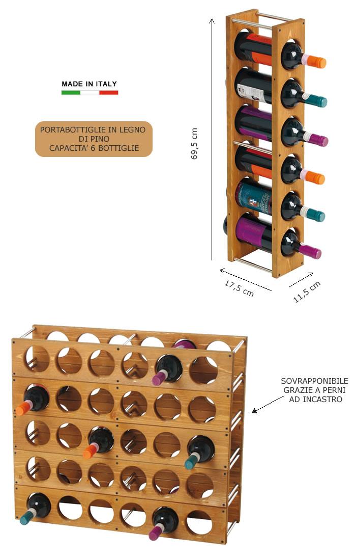 Portabottiglie in legno di pino h8217 - Portabottiglie in legno fai da te ...