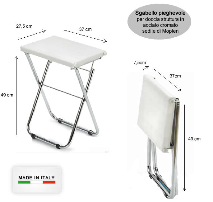 Sgabello pieghevole per doccia in acciaio e moplen h5632 for Sgabello pieghevole