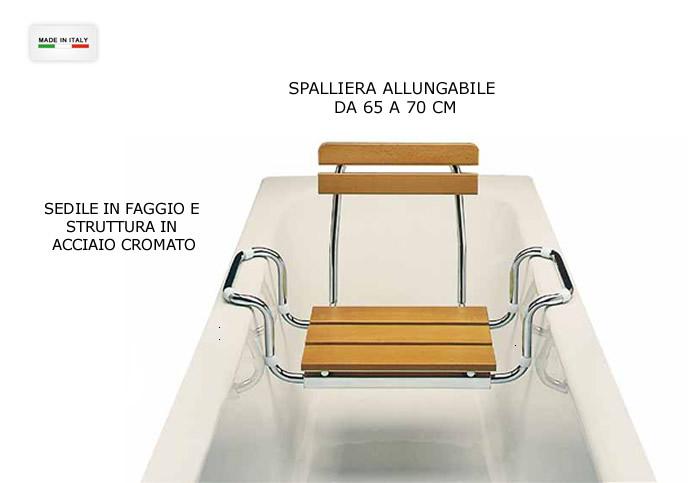 Sedile per vasca bagno in legno e acciaio con spalliera h5626 - Vasca per bagno ...