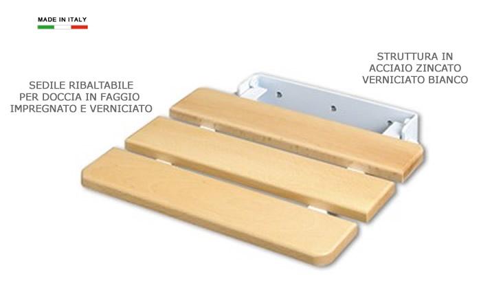 Sedile ribaltabile per doccia in legno e acciaio h5621 - Sgabello legno bagno ...